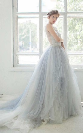53e32872f62 ... Bell Sleeve Tulle Satin Lace Wedding Dress