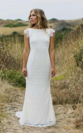 873cfac23b8 Bohemia Country Cap Sleeves Sexy Backless Lace Mermaid Wedding Dress ...