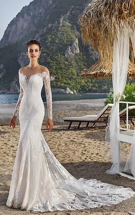 d0a242e16ab3f Sheath Off-The-Shoulder Long-Sleeve Lace Wedding Dress With Illusion ...