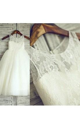 f4f2a0e68c Light Ivory Lace Bodice Sleeveless Sweetheart Flower Girl Dress With Flower  Belt ...