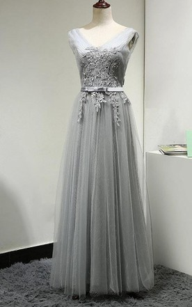 27e8bfdda2d V Neck V Back Cap Sleeve A-line Pleated Tulle Long Dress With Applique and  ...