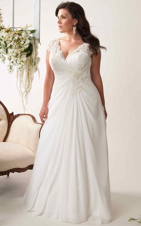 e2b18d9ad1a Sheath V-Neck Appliqued Cap-Sleeve Chiffon Plus Size Wedding Dress With  Ruching And ...
