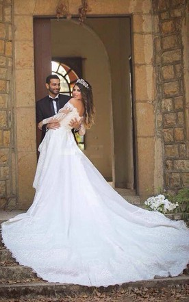 2587db6a82e ... Off Shoulder Long Sleeves Backless Lace Wedding Bridal Gown
