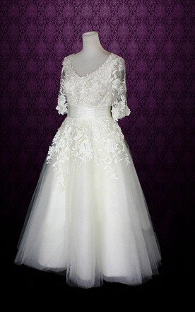 8b84accc5426 ... V-Neck Half Sleeve Low-V Back Tulle Wedding Dress With Sash And  Appliques