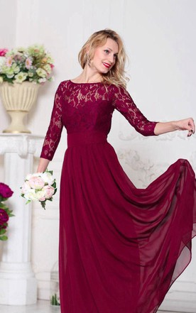d2a1477c17c Illusion 3 4 Sleeve Lace Top Chiffon MOB Dress ...