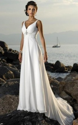 0076e2d085 Empire V-neck Court Trains Sleeveless Chiffon Beach Wedding Dresses for  Brides ...