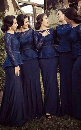 848100c0bd Sheath Bateau Long Sleeves Sweep Train Lace Chiffon Bridesmaid Dresses