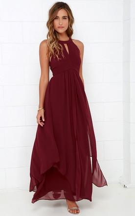 dc1f0234581 Brilliant Halter Sleeveless Empire Chiffon Long Dress ...