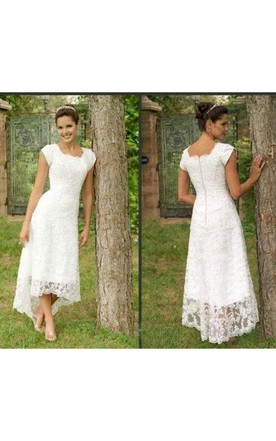 dcfe3ca7918 ... High Low U Neck Cap Sleeves Modest Elegant Lace Wedding Dress