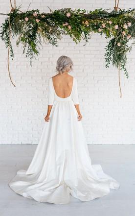 27b0aedb Modern Simple Long Sleeve A-Line Satin Wedding Dress With Open Back ...