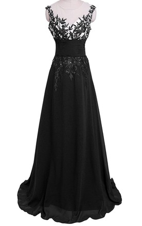 d87950f05ff Cap-sleeved Gown With Leaf-like Appliques and Keyhole ...