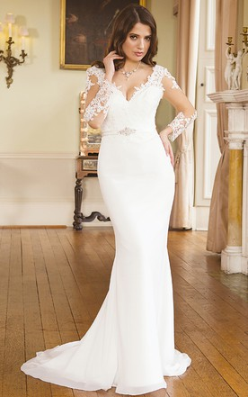 5b4e7adb949 Mermaid Maxi V-Neck Illusion Sleeve Appliqued Chiffon Wedding Dress ...