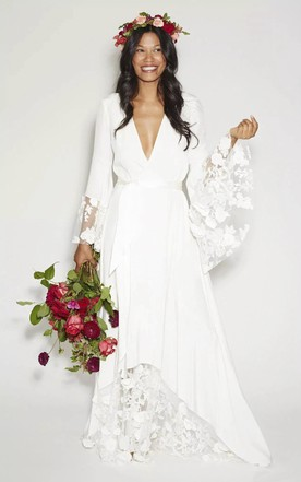 55018868dda Simple Bohemian Long Sleeves Deep V Neck Hippie Beach Wedding Gown ...