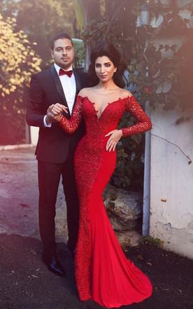 c04430392fd Sexy Red Long Sleeve Lace 2018 Evening Dress Mermaid Zipper Button Back ...