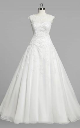 0a098f63db41 Jewel Neck Cap Sleeve A-Line Organza Wedding Dress With Lace Bodice ...