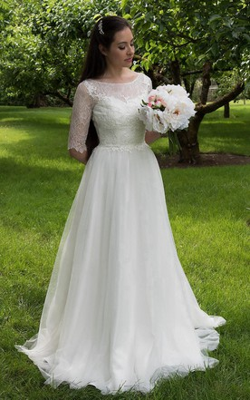 2c92db57a2f Long A-Line Tulle and Lace Wedding Dress With Elbow Sleeves ...