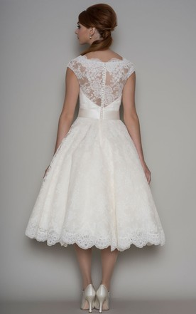 e3c2f2928af ... Tea-Length A-Line Cap Sleeve Square Neck Ribboned Lace Wedding Dress