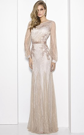 74d0ce32c61 Sheath Floor-Length Scoop-Neck Puff-Sleeve Embroidered Lace Prom Dress With  Waist
