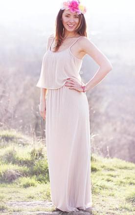 979c0f24ce4 Long Chiffon Dress With Pleats ...