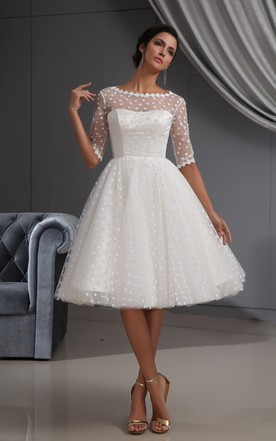 1c388292c6 Half-Sleeve Illusion Midi Dress With Dot And Lace ...