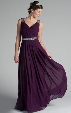 742a5d4cf7e V Neck Back Dropping Chiffon Long Bridesmaid Dress With Crystal Straps And  Waist ...