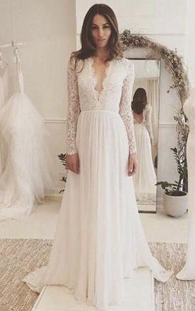 1375e392bb V-neck Long Sleeves Backless Ivory Chiffon Wedding Dress with Lace ...