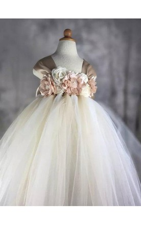 8924f592589 Cap Sleeve Flower Bodice Long Tulle Dress With Bow Back and Pleats ...