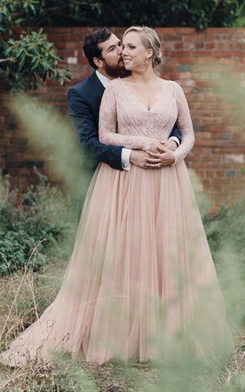 3e1e41447be Plus Size Blush Long Sleeves Bling Sequins V Neck A Line Tulle Lace Bridal  Gown ...