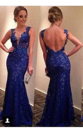 bdd66d6f139 Sexy Backless Royal Blue Evening Dresses 2018 V-neck Sleeveless Full Lace  Prom Gowns ...