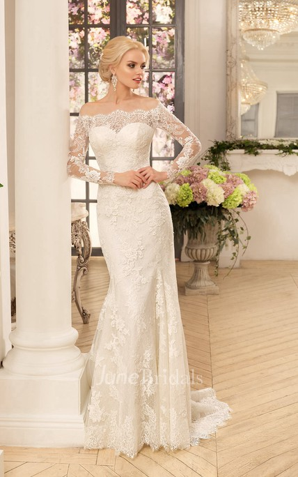 Sheath Long Off-The-Shoulder Long-Sleeve Illusion Lace Dress With Appliques