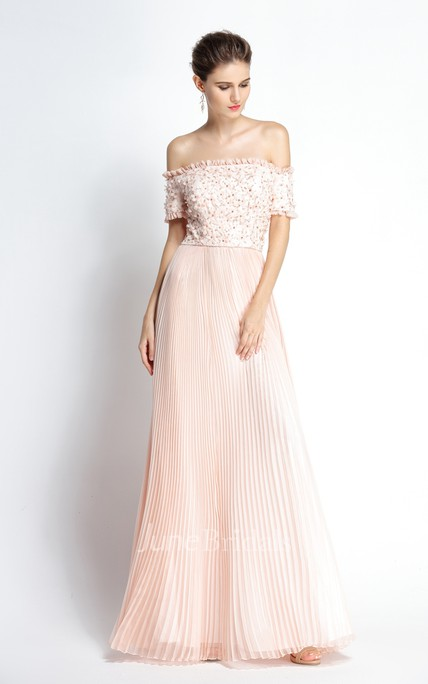 A-Line Off-the-shoulder T-shirt Short Sleeve Floor-length Chiffon Prom Dress with Beading