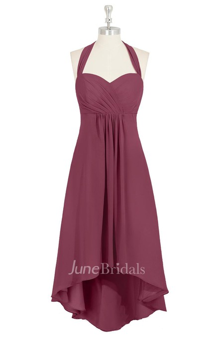 High-Low Sweetheart Chiffon A-Line Dress With Halter and Ruching