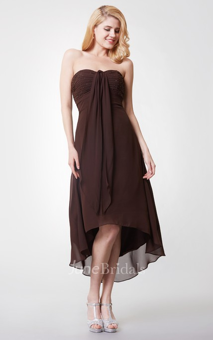 Shinning Sleeveless Empire Waist Tea-length Chiffon Dress With Ruching