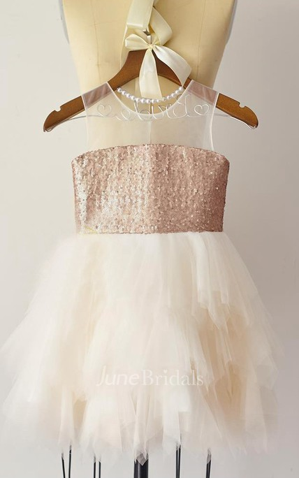 Sheer Neckline Sequin Bust Tulle Dress With Ruffles