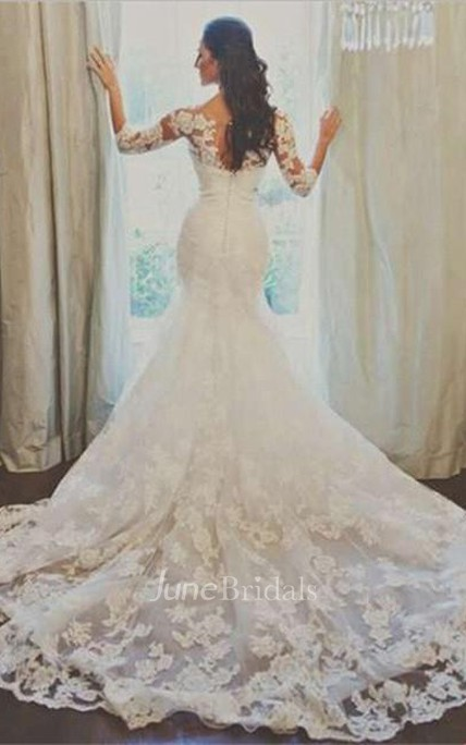 Elegant 3 4-long-sleeve Illusion Tulle Wedding Dress Lace Appliques