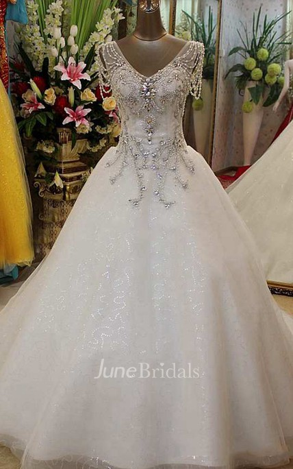 Beaded Short Sleeve Tulle Ball Gown With V Neck