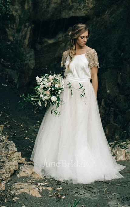 Paige Wedding With Copper Beading And Tulle Skirt Ivory Dress