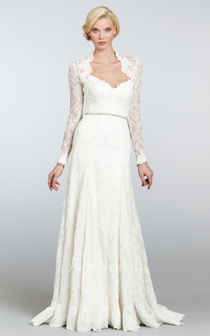 Demure Long Lace Dress With Detachable Long Sleeve Lace Bolero