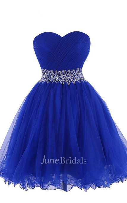 Sweetheart A-line Short Dress With Beaded Waist