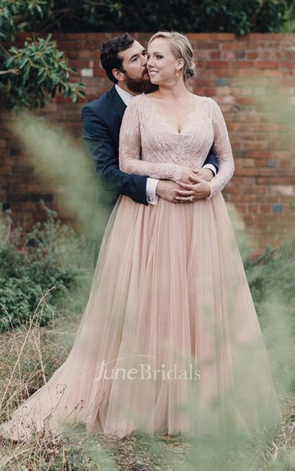 Blush Wedding Dress.Plus Size Blush Long Sleeves Bling Sequins V Neck A Line Tulle Lace Bridal Gown