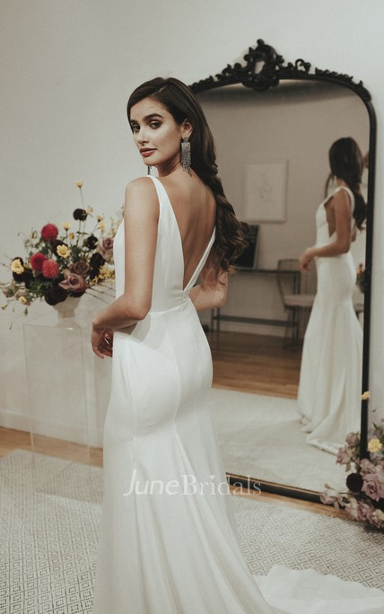 Sexy V-neck Mermaid Satin Wedding Gown With Train And Deep V-back
