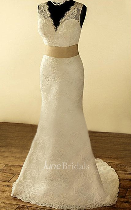 V-Neck Sleeveless Deep-V Back Sheath Lace Wedding Dress With Sash And Flower