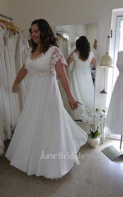 V Neck Short Sleeve Lace Chiffon Plus Size Wedding Dress