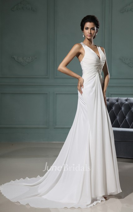 Wonderful Ruffled Deep Column Gown With Brush Train