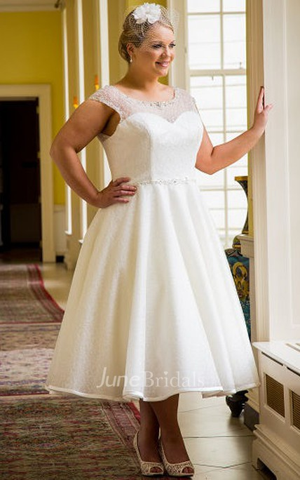Cap Sleeve Tea Length Bridal Gown With Beading Neck And Waist