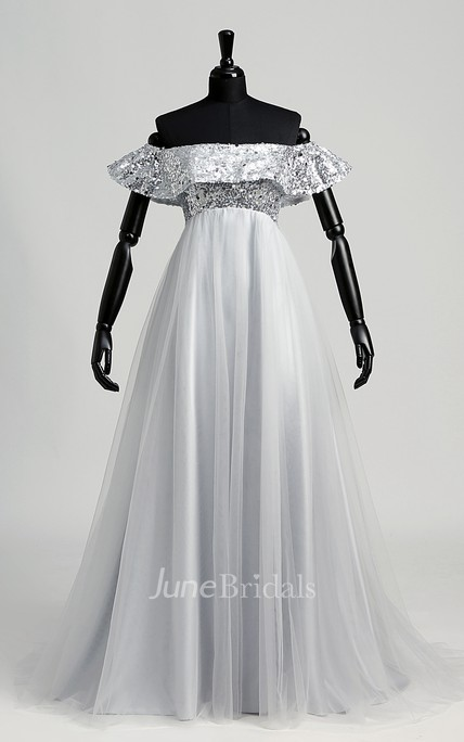 Strapless Sequined Bodice Empire Pleated Tulle Dress