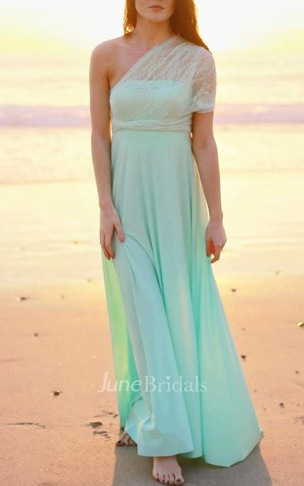 Mint With Seafoam Lace Straps Infinity Convertible Wrap Maternity Plus Size  Dress