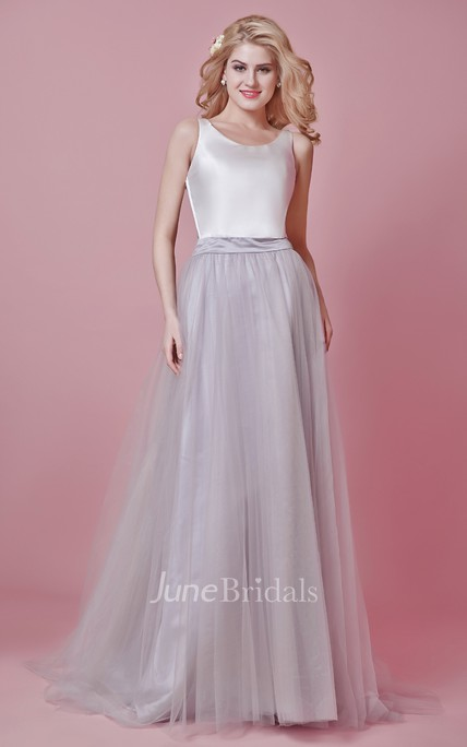 Scoop Neck Long Tulle Wedding Dress