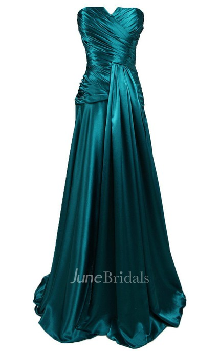 Strapless A-line Gown With Ruching and V-cut Detail
