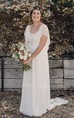 Bohemian Plus Size Lace Short Sleeves Scoop Open Back Wedding Dress